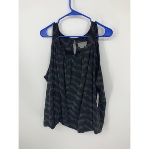 New anthropologie carly black metallic shimmer top